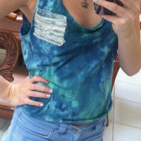 Tie-Dye Crop Top with Lace Pocket