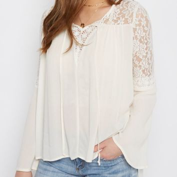 Ivory Lace Bell Sleeve Peasant Top | Blouses | rue21