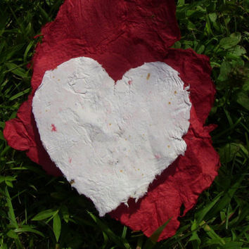 Handmade Recycled Paper White Hearts
