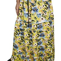 Mogul Women Long Maxi Skirts Yellow Floral Printed A-Line Flared Flirty Vintage Skirts