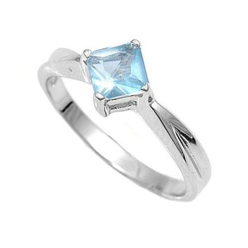 Sterling Silver Candy Diamond Crush CZ Aquamarine 7MM CZ Petite Rings