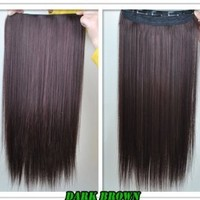 "8 Color 23"" Straight Full Head Clip in Hair Extensions Wwii101 (Light Brown)"
