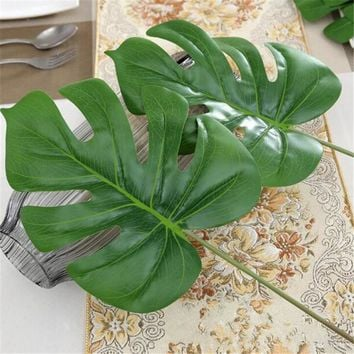 1Piece large Artificial fake Monstera palm tree Leaves green Plastic leaf wedding DIY decoration cheap Flowers arrangement plant
