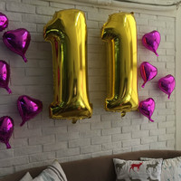 40 Inch Gold Number 0-9 Wedding Foil Balloons Kids Birthday Party Supplies Baby Shower Decorations Event & Party Supplies