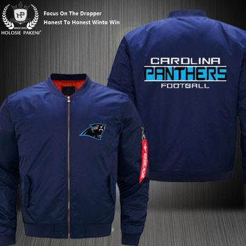 Dropshipping USA Size MA-1 Jacket Football Team Carolina Panthers Flight Jacket Custom Design Printed Bomber Jacket made Men