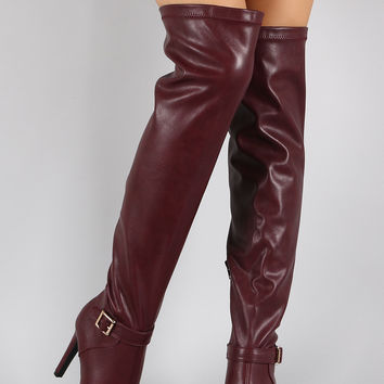 Qupid Pointy Toe Thigh High Stiletto Boot