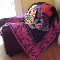 rag lap quilt, shabby chic throw, Jennifer Paganelli crazy love free spirit fabric