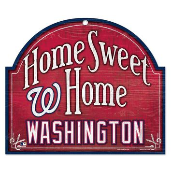 "WASHINGTON NATIONALS HOME SWEET HOME ARCHED WOOD SIGN 10""x11"" BRAND NEW WINCRAFT"