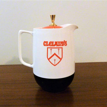 "Vintage 1970s Thermos Insulated ""Cleland's Shield"" Orange and White Pitcher / Retro Plastic Jug and Lid / 1.5 Litre"