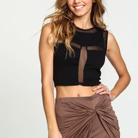 BLACK SHEER MESH CUT OUT CROP TOP