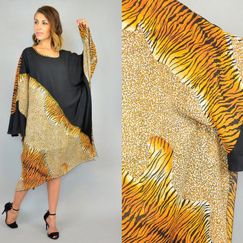 ANIMAL PRINT vtg 80s avant garde leopard tiger bohemian glam KAFTAN loungwear dress, one size fits all