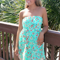 Botanic Beauty Mint Floral Print Strapless Dress