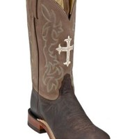 Tony Lama® Ladies Chocolate and Tan with Cross Double Welt Wide Square Toe Boots