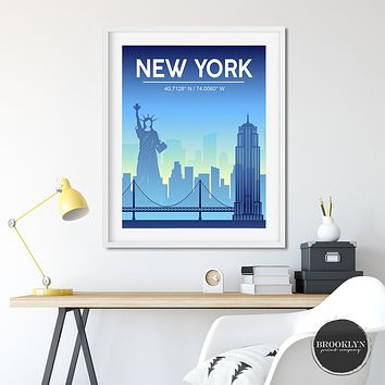 New York City Skyline Art Travel Poster