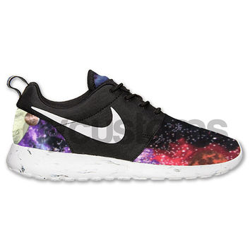 "Nike Roshe Run Black White Marble Galaxy ""Planets in Space"" Print Custom"