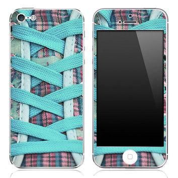 Turquoise Laced Converse Shoes Skin for the iPhone 3gs, 4/4s or 5