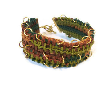 Camo Crochet Bracelet With Gold Rings Toggle Clasp Handmade