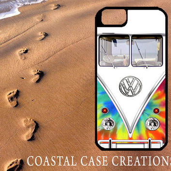 Colorful Tie Dye Volkswagen Bus Apple iPhone 4 4G 4S 5G Hard Plastic Cell Phone Case Cover Original Trendy Stylish Design