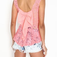 CHIFFON BOW LACE TOP