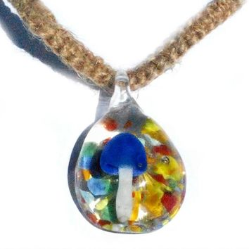Glass Blue and White Psychedelic Mushroom with Colorful Background Hemp Necklace
