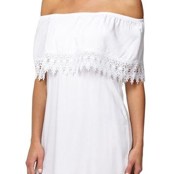 foxy lace trim off the shoulder dress