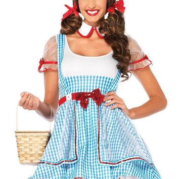 2PC.OZ Beauty,suspender dress and peter pan collar in BLUE/WHITE