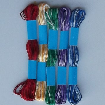 Embroidery Floss Threads, Five Variegated Colors