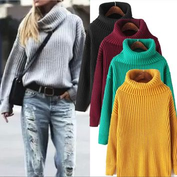 Lapel loose pullover ladies turtleneck thick winter