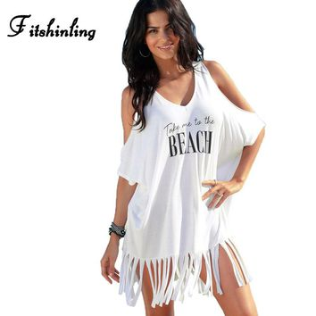 Fitshinling Off shoulder oversized boho dresses women letter print fringe holiday white beach dress swimwear output sexy pareos