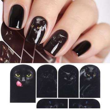 Mysterious Black Cat Nail Water Decal Nail Art Manicure Transfer Sticker Nail Sticker Tattoo Decals Water Slide Decoration