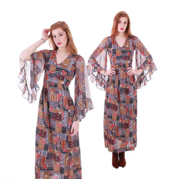 70s Vintage Angel Sleeve Maxi Dress Patchwork Boho Hippie Festival Retro Clothing Women Size Small