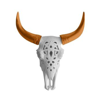 The Ledoux | Large Carved Cow Skull | Faux Taxidermy | White + Bronze Horns Resin