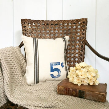 "Insert Included - 12"" Grain Sack Inspired Number and Cent Pillow - Vintage Inspired - Customizable Family Number - 2nd Anniversary Gift"