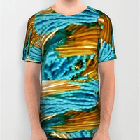 Unisex Dipped in Turquoise and Gold Digital Print T-Shirt Artistic T-Shirt Turquoise Gold All Over Print  Design Print T-Shirt Pattern