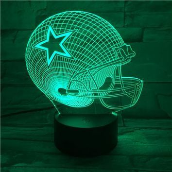 Dallas Cowboys Helmet lamparas 3d led lamp 7 Colors Change acrylic USB LED Table Lamp Kids Gift Creative Night Lamp GX451