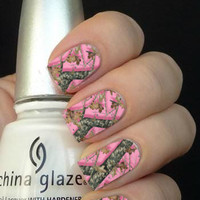 Full Pink Camouflage Nail Art Decals Nail Stickers
