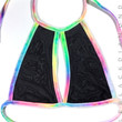 Mesh Halter Top 2 with Bubble Tie Dye Velvet  Trim