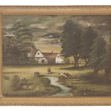 Sheep Grazing Antique Painting