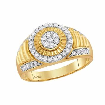 10kt Yellow Gold Men's Round Diamond Cluster Concentric Circle Ribbed Ring 3/4 Cttw - FREE Shipping (US/CAN)