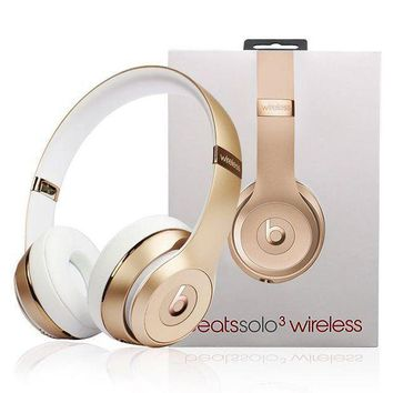 Beats Solo 3 Wireless Magic Sound Bluetooth Wireless Hands Headset MP3 Music Headphone With Microphone Line-in Socket TF Card Slot For Couple Gold I
