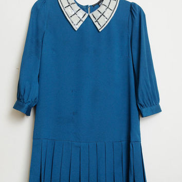 Vintage Super Cute School Girl Baby Doll Long Sleeve Dress With Ruffle Skirt Bottom and Sequin Collar