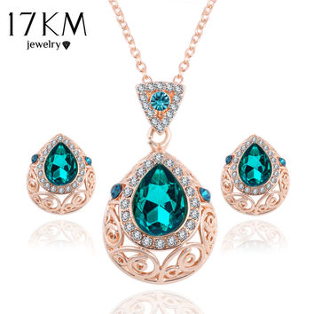17KM Elegant Vintage Green Gem Austrian Crystal Chain Jewelry Sets Drop Necklace Earrings Set For Women  Party Jewelry  joyeria