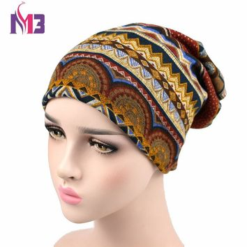 Bohemian Beanie Hat Unisex Knitted Polyester Skullies Casual Cap Plaid Ski