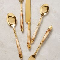 Horn Inlay Flatware by Anthropologie in Gold Size: Set Of 5 Flatware