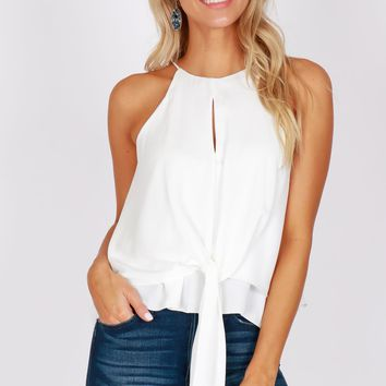 High Neck Knot Tank White