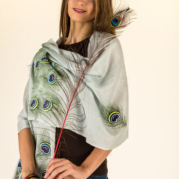 Exclusive Hand Painted Peacock Feather Art on Pure Mulberry Silk Scarf with Fringes - Free Shipping in US