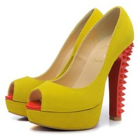 Christian Louboutin Fashion Edgy Rivets Red Sole Heels Shoes