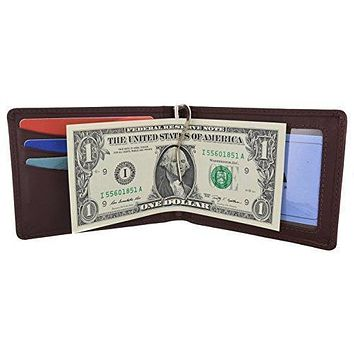Moga Men's Genuine Leather Slim Money Clip Credit Card Holder Bifold Wallet With ID Window