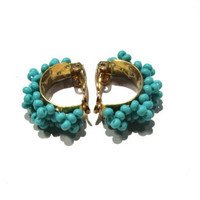 Beaded Clip On Earrings Turquoise Braided in Gold
