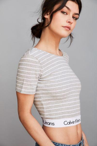 014f8693fa1 Calvin Klein For UO Striped Cropped Tee from Urban Outfitters
